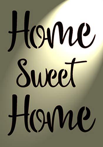 """Kunststoff-Schablone mit Schriftzug """"Home Sweet Home"""", Vintage, Shabby Chic, A4-Format (297x 210mm), für Möbel/ Wände"""