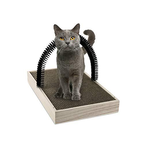 Ale Pomos Katzen Kratzbrett mit Katzenbogen, Katzenminze zum Geschenk, Katzenspielzeug 2 in 1, Katzen Kratzbrett in Einer Einheit, für Selbst Pelzpflege, Streichen, Spielen