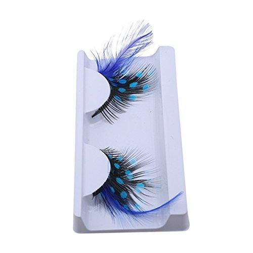 1 Paar falsche Wimpern mit Feder-Wimpernverlängerung Make-up-Werkzeug für Party-Maskerade-Nachtclub, blau nützlich und praktisch