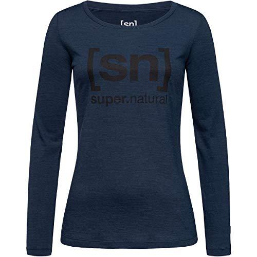 super.natural Tee-shirt Imprimé Manches Longues pour Femmes, Laine mérinos, W ESSENTIAL I.D LS, Taille: S, Couleur: Bleu foncé/Noir