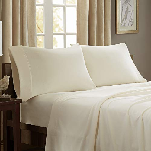 Peak Performance 3M Scotchgard Micro Fleece Wrinkle and Stain Resistant, Soft Plush Sheets with 14' Deep Pocket Cold Season Cozy Bedding-Set, Matching Pillow Case, Queen, Ivory