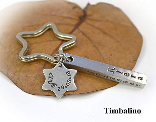 Schlüsselanhänger aus Edelstahl Barren Stern mit Gravur, personalisierter Schlüsselanhänger