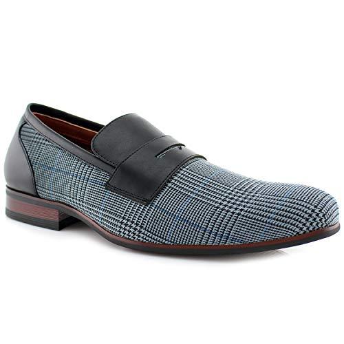 Ferro Aldo Men Fashion Slip On Loafers Dress Shoes Leather Lining Brown Plaid (8.5)