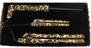 Iso Professional Hair Irons Set of 3 Giraffe Print: Flat Iron, Mini Travel Flat Iron, - Curling Iron Ceramic - Tourmaline Frizz 450 Degree Control