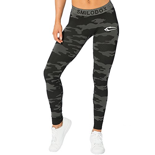 SMILODOX Camouflage Leggings Damen Army | Seamless - Figurformende Tight für Sport Fitness Gym Yoga | Sporthose - Workout Trainingshose - Tights Laufhose Camouflage, Farbe:Schwarz, Größe:S