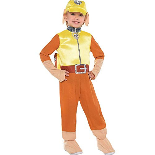Costumes USA PAW Patrol Rubble Costume for Toddler Boys, Size 3-4T, Includes a Jumpsuit, a Hat, a Backpack, and More