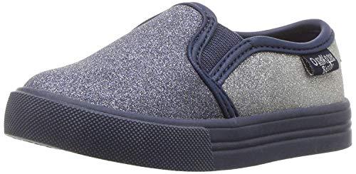 Oshkosh B'Gosh Girls' Edie Slip-on Sneaker, Navy/Silver, 5 M US Toddler