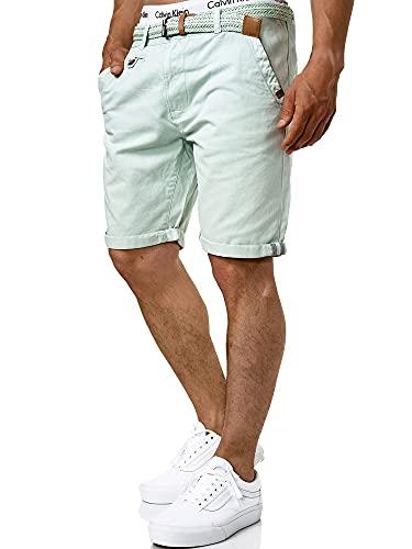Indicode Herren Cuba Chino Shorts mit 5 Taschen inkl. Gürtel aus 100% Baumwolle   Kurze Hose Regular Fit Bermudas Sommerhose Herrenshorts Short Men Pants Chinohose für Männer Surf Spray XL