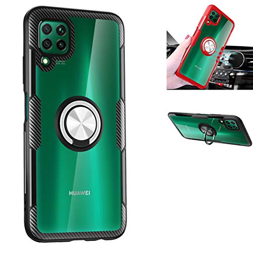 Huawei P40 Lite Case,360° Rotating Ring Kickstand Protective Case,TPU PC Shock Absorption Double Protection Cover Compatible with[Magnetic Car Mount] for Huawei Nova6SE/Nova7i/P40 Lite Case (Black/silver)
