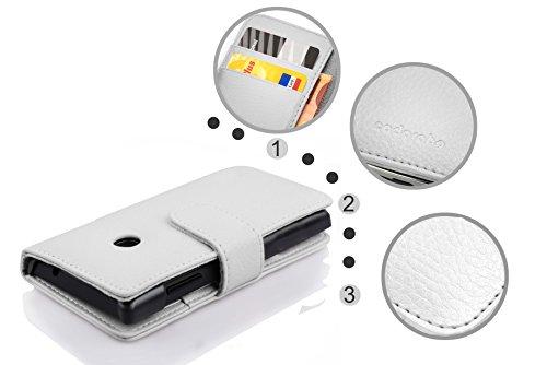 Cadorabo Hülle für Huawei Ascend Y330 - Hülle in Magnesium WEIß – Handyhülle mit Kartenfach aus struktriertem Kunstleder - Case Cover Schutzhülle Etui Tasche Book Klapp Style - 5