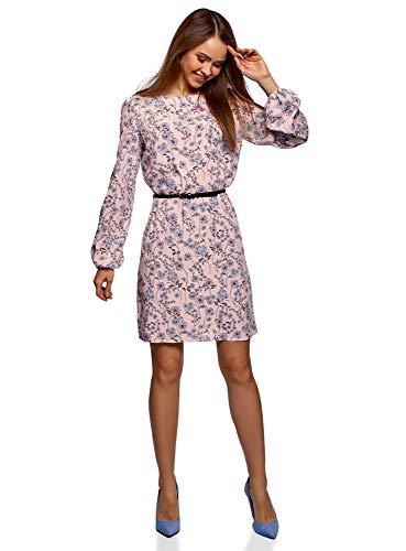 oodji Ultra Damen Viskose-Kleid mit Gürtel, Rosa, DE 42 / EU 44 / XL