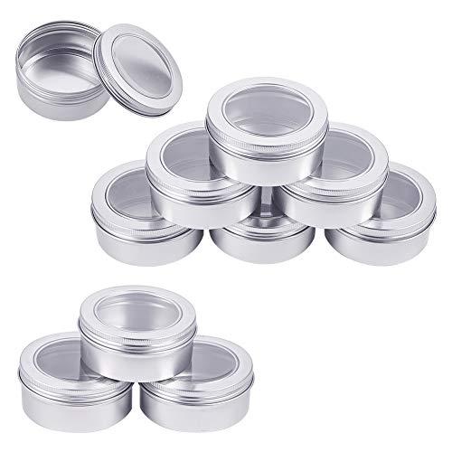 BENECREAT 10 Pack 150ml Lata de Aluminio Redondas Contenedores con Ventana - Ideal para Almacenar Especias, Dulces, Té o Regalos (Platino)