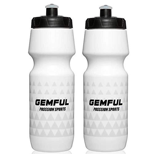 Sport Trinkflasche 750ml BPA-frei Radflasche 2er Set (Weiß)
