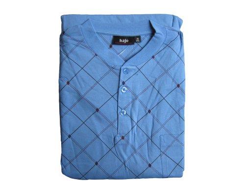 hajo 52354 Herren Pyjama Schlafanzug mit Knopfleiste/Brusttasche (54, hellblau)
