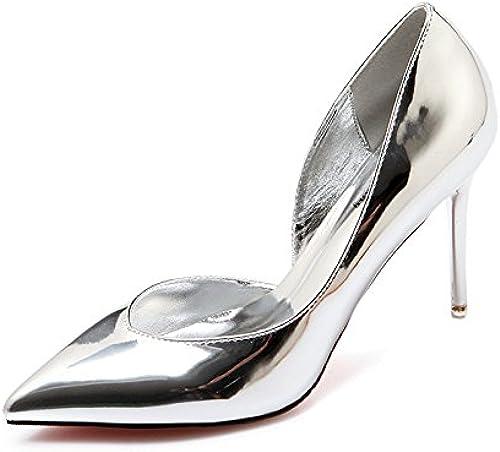 Xue Qiqi chaussures à haut talon-pointe fine avec des fées sauvages en cuir peint argent chaussures chaussures unique,35, argent 9 cm