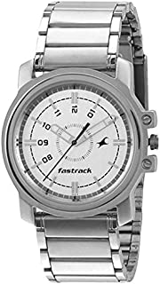 Fastrack Economy Men's White Dial Stainless Steel Band Watch - T3039SM01