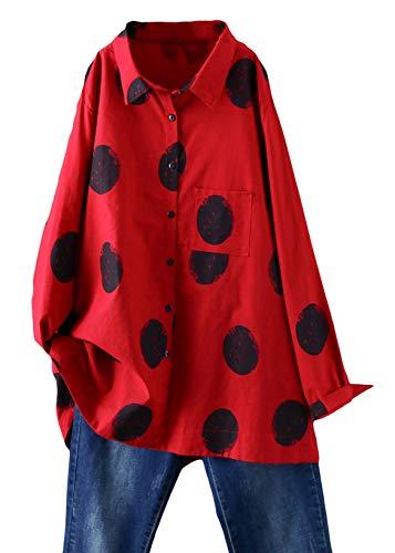 Minibee Women's Button Down Tunic Tops Polka Blouse Cotton Shirts Red M
