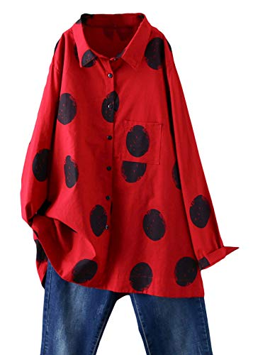 Minibee Women's Button Down Tunic Tops Polka Dot Blouse Cotton Shirt Red M