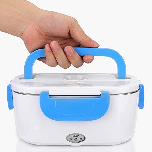 Lunch box elettrico, contenitore portatile per scaldavivande, scatole per bento per uso domestico in auto, con contenitore rimovibile in acciaio inossidabile 304, con cucchiaio(Blu)