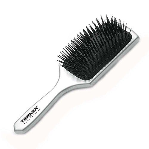Termix Cepillo de pelo neumático para desenredar color plata. Raqueta con tacto gomoso para tratar el cabello tanto en mojado como en seco.