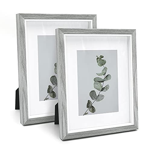 Afuly Marco de fotos de madera, 20 x 25 cm, gris y blanco, con paspartú de 13 x 18 cm, decoración moderna, estilo rústico, regalo para pared o escritorio, juego de 2 unidades