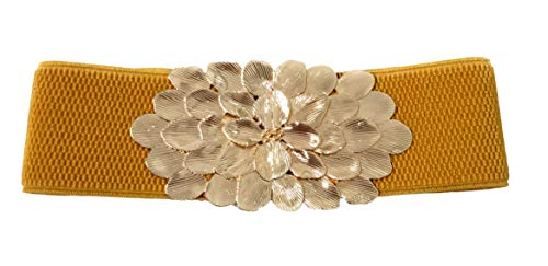 BRANDELIA Cinturones elásticos fiesta cierre dorado mujer para vestidos, pantalones y faldas