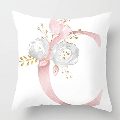 vctops Flowers Printed Throw Pillow Covers Alphabet Decorative Pillow Cases ABC Letter Cushion product image