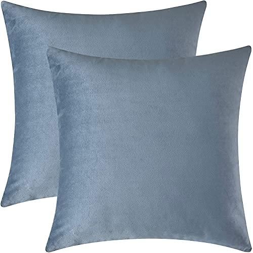 Morbuy Juego de 2 Funda Cojines de Terciopelo Duradero Almohadas Decorativa de Color sólido para Sala de Estar sofás Camas...