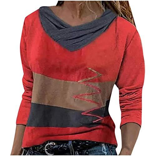 Onsoyours Sweatshirt Damen Mode Casual V-Ausschnitt Tops Frauen Katze Bedruckte Langarmshirt Pullover Lose Oberteile Bluse Basic T-Shirt (M, K Rot)