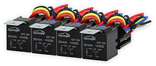 4 Pack - EPAuto 30/40 AMP Relay Harness Spdt 12V Bosch Style