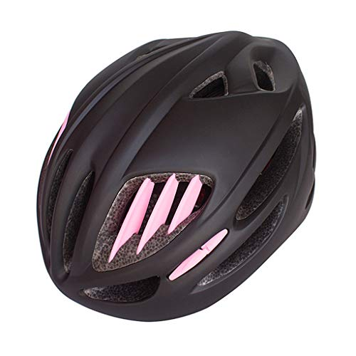 Casco De Ciclista, Bicicletas Cascos Mate Negro Unisex Casco De La Bici Luz De Fondo Carretera De Montaña Moldeada Integralmente Transpirable Camino MTB Casco Ultraligero,Black Pink