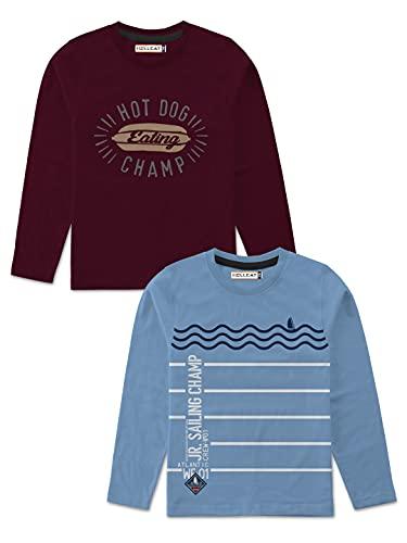 HELLCAT Boys Full Sleeve Round Neck Cotton Tshirt -Combo Pack of 2