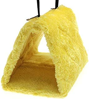 Cdycam Pet Bird Nest Hammock Hanging Cave Cage Plush Snuggle Happy Hut Tent Bed (Yellow(large))