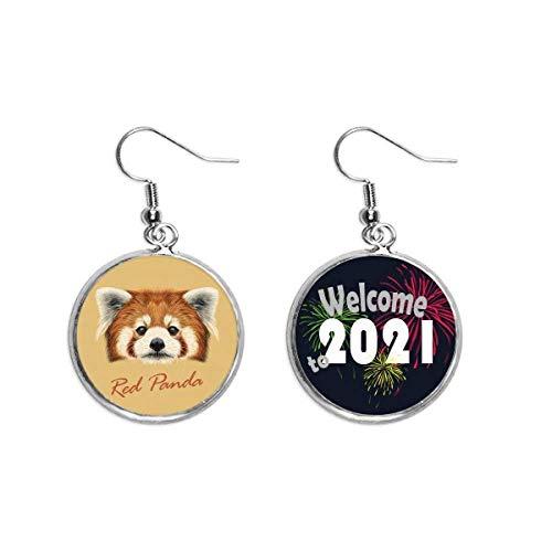 Ohrringe, Kastanienbrauner Panda, Tierohr-Anhänger, Schmuck, 2021 Segen
