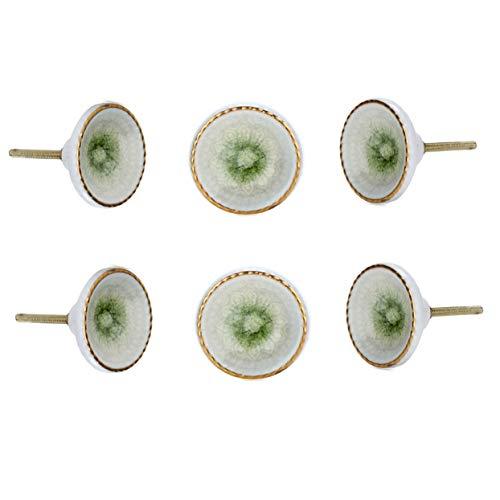 Perilla Home - Set di 6 pomelli rotondi in ceramica, colore: Verde chiaro