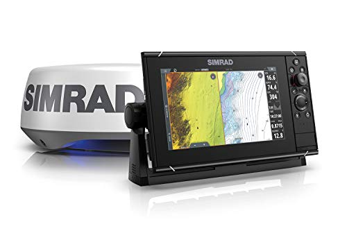 Simrad NSS9 Evo3S - 9-inch Multifunction Fish Finder Chartplotter with HALO20+ Radar, Preloaded C-MAP US Enhanced Charts,000-15554-001
