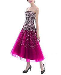 Fushcia Short Dress with Rhinestones