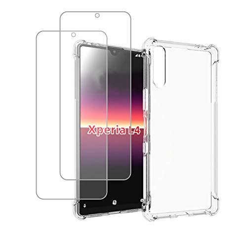 KZIOACSH Coque pour SonyXperiaL4 + 2 Pièces Protection écran,Coins Renforcés Souple Etui Silicone TPU Antichocs Case,Transparent