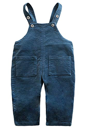 Camilife Baby Kinder Jungen Mädchen Kord Latzhose Vintage Retro Overall Kordsamt Latzhose Cordhose mit Hosenträger für 1-4 Jahres alt - Blau Größe 100