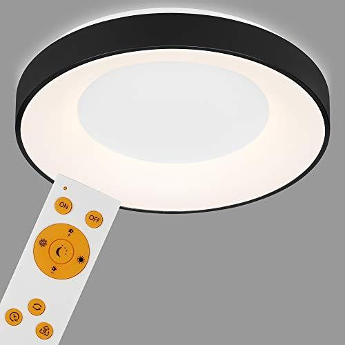 Briloner Leuchten - LED Deckenleuchte, Deckenlampe dimmbar, inkl. Fernbedienung, Farbtemperatursteuerung, inkl. Nachtlicht, Timerfunktion, 36 Watt, 3.600 Lumen, Weiß/Schwarz, Ø 48,4cm