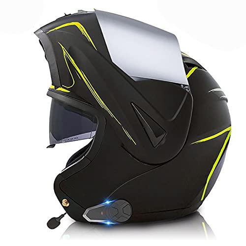HZIH Casco de Moto Modular,ECE Homologado Bluetooth Integrado Cascos Flip Up con Doble Visera,con Sistema De Comunicación De Intercomunicación HD Reducción de Ruido FM 15,XS=53~54cm