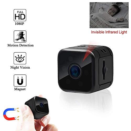 Cámara Mini cámara espía de 1080P HD Spy cámara Oculta con visión Nocturna y detección de Movimiento para vigilancia de Seguridad Interior/Exterior niñera CAM ( Color : +64G Memory Card )