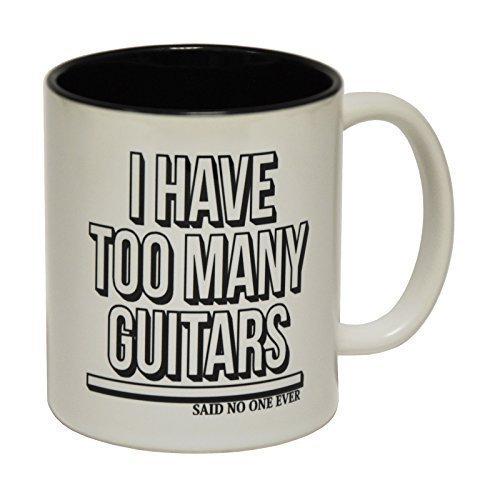 Thee mok, Mokken Ik heb te veel gitaren Zei Niemand Ooit Keramische Slogan Cup met Zwarte Interieur Verjaardag Grappig geschenk voor Hem voor Haar Koffiemok