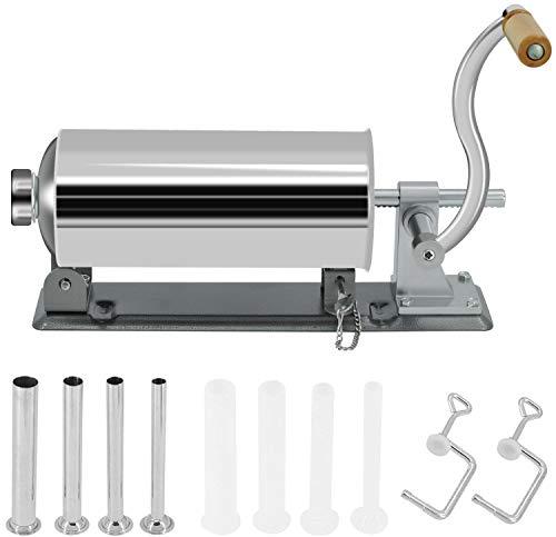 Horizontaler Wurstfüller, hausgemachte Wurstmaschine, Edelstahl Fleischfüller Kit mit 8 Stück Fülldüsen, 4 Größen (2,7 kg/3 l)