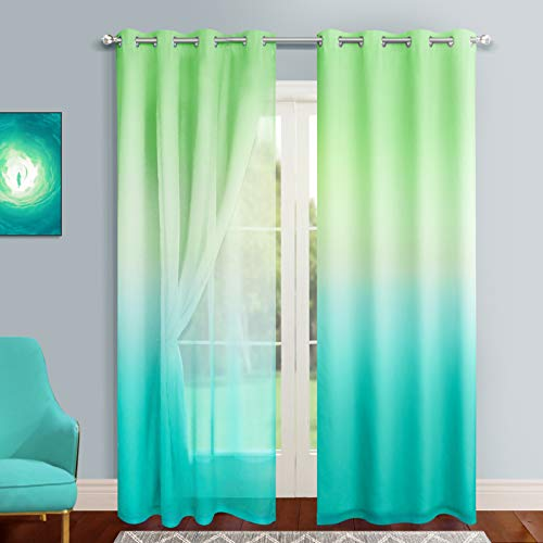 Joywell 2-Layer Blackout Curtains with Sheer for Kids Bedroom Set of 2 Panels Grommet Thermal Insulated Rainbow Ombre Sheer Curtains for Living Room Green and Turquoise 42x84