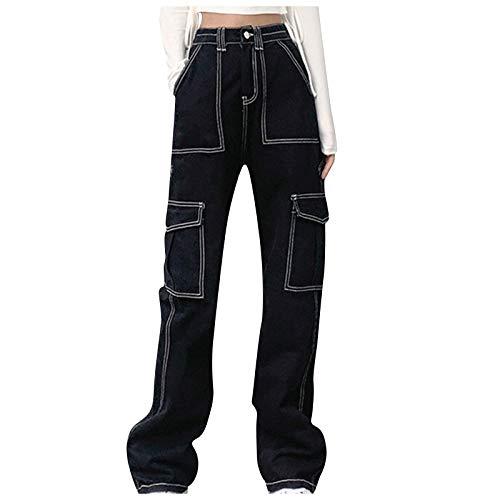 MASZONE Y2K Jeans for Women 90s Mid Waisted Wide Leg Pants Straight Jeans Casual Baggy Trousers Denim Pants Streetwear Black