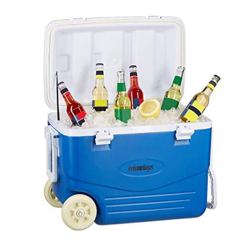 Relaxdays Kühlbox ohne Strom, Kühl-Trolley zum Ziehen, große Kühltasche mit Rollen, Wasserablauf, 46 Liter, blau-weiß