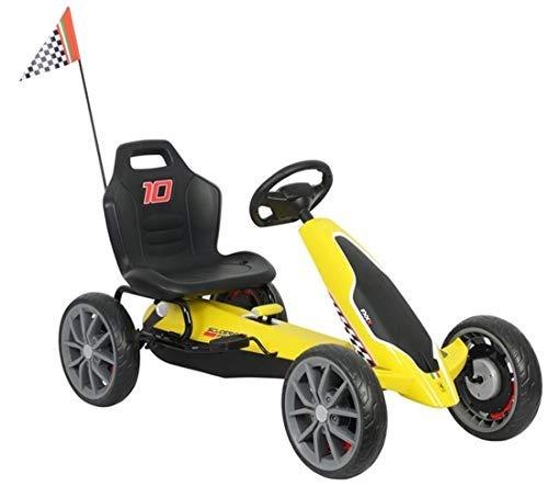 fit4form Kinder Go Kart Ferrari Top Speed Yellow Racer Tretauto Gokart 3-8 Jahre