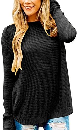 Jusfoouo Damen Rundhals Pullover Einfarbig, Waffelstrick Locker Gestrickter Lässiger Langarm Pulli, Basic Herbst Winter Sweater Tops Schwarz XL