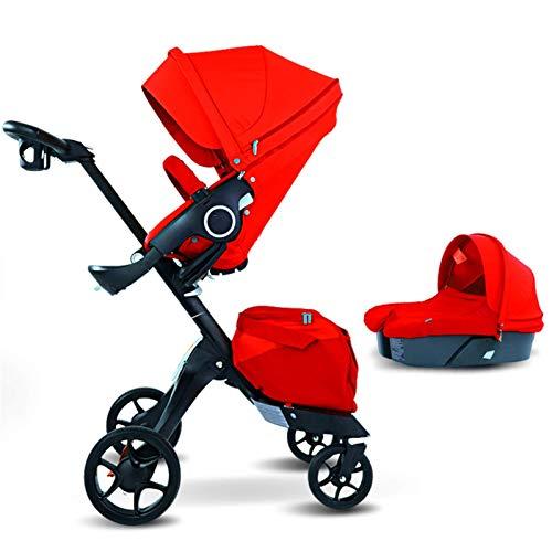 hjj Cochecito de bebé 3 en 1 Luxury High View Sentado Cochecito de bebé Protector de bebé Adecuado para Cochecito de bebé recién Nacido(Color: Rojo) jianyou (Color : Red)